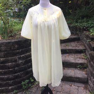 RARE Vintage Shadowline Sheer Yellow Floral Robe